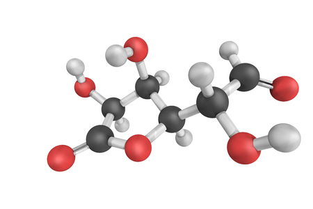 3d structure of Glucuronolactone, a naturally occurring chemical that is an important structural component of nearly all connective tissues. It is also found in many plant gums. Stock Photo