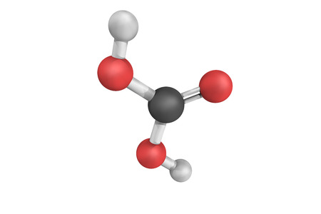 bicarbonate: 3d structure of Carbonic acid, a chemical compound with the chemical formula H2CO3.It plays an important role in the bicarbonate buffer system to maintain acid–base homeostasis. Stock Photo