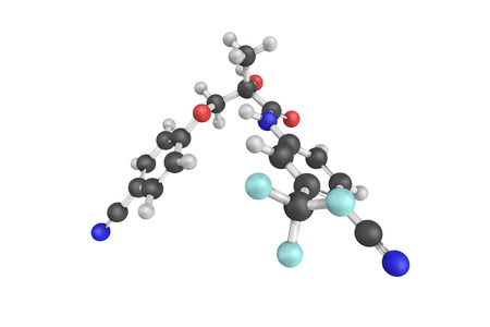 modulator: 3d structure of Enobosarm, also known as ostarine, an investigational selective androgen receptor modulator (SARM) for treatment of conditions such as muscle wasting and osteoporosis. Stock Photo