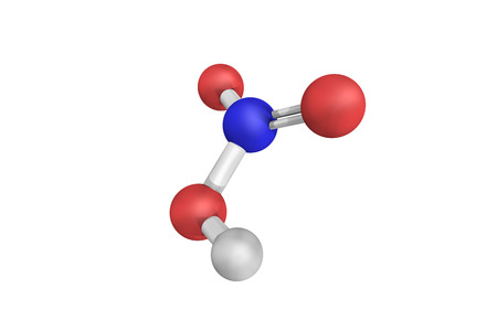 3d structure of Nitric acid, a highly corrosive mineral acid and a primary reagent used for nitration – the addition of a nitro group, typically to an organic molecule.