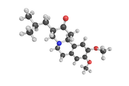 3d structure of Dutetrabenazine, deuterated Tetrabenazine which reversibly inhibits monoamine re-uptake, depleting monoamines and reducing involuntary movements. Stock Photo