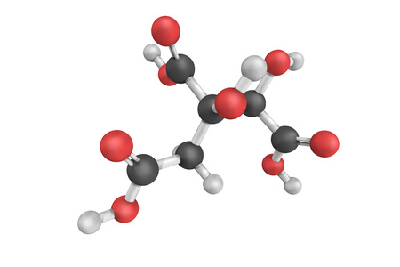 derivative: 3d structure of Hydroxycitric acid, a derivative of citric acid that is found in a variety of tropical plants including Garcinia cambogia and Hibiscus subdariffa.