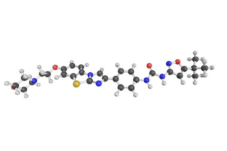 proto: 3d structure of Quizartinib, a small molecule receptor tyrosine kinase inhibitor. Its molecular target is FLT3, also known as CD135 which is a proto-oncogene. Stock Photo