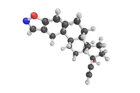 derivative: 3d structure of Danazol, a synthetic steroid that is used primarily in the treatment of endometriosis and marketed widely throughout the world. It is the derivative of ethisterone.
