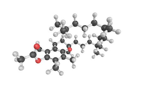 acetic acid: 3d structure of Tocopheryl acetate, also known as vitamin E acetate, a common vitamin supplement. It is the ester of acetic acid and tocopherol (vitamin E). Stock Photo
