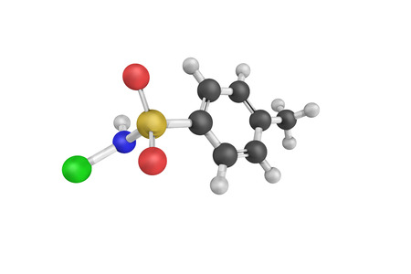 desinfectante: 3d structure of Chloramine-T, also known as Tosylchloramide, a N-chlorinated and N-deprotonated sulfonamide used as a biocide and a mild disinfectant. Foto de archivo