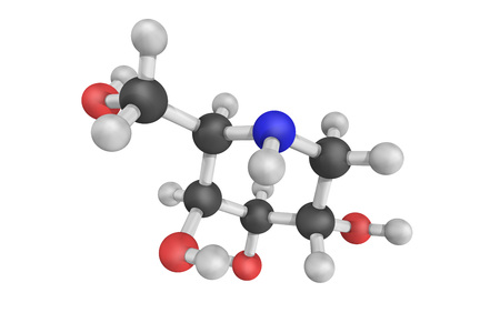 disease structure: 3d structure of Migalastat (INNUSAN), or 1-deoxygalactonojirimycin, a drug for the treatment of Fabry disease, a rare genetic disorder.