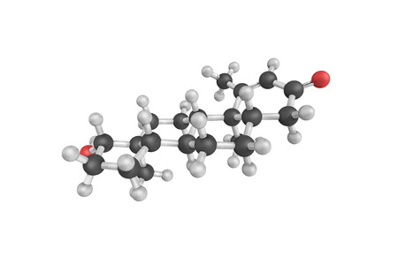 adrenal gland: 3d structure of Metenolone, also known as methenolone, a long-acting anabolic-androgenic steroid marketed for medical use. It is a naturally occurring steroid.