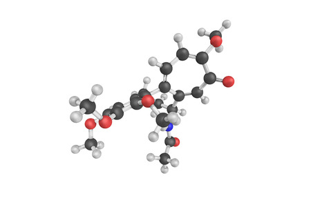 gout: 3d structure of Colchicine, a medication most commonly used to treat gout. It is a toxic natural product and secondary metabolite, originally extracted from plants of the genus Colchicum.