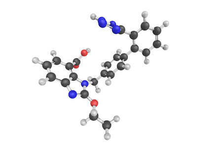 3d structure of Candesartan, an angiotensin II receptor antagonist used mainly for the treatment of hypertension.