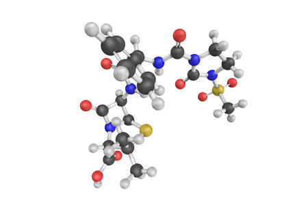 3d structure of Mezlocillin, a broad-spectrum penicillin antibiotic. It is active against both Gram-negative and some Gram-positive bacteria. Stock Photo