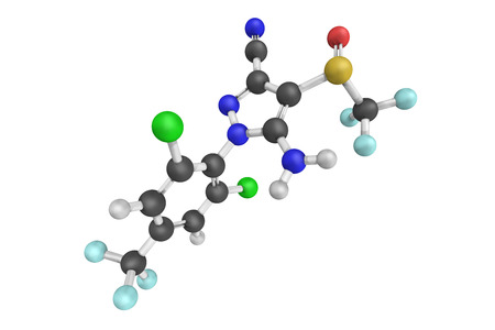 sistema nervioso central: 3d structure of Fipronil, a broad-use insecticide that belongs to the phenylpyrazole chemical family. It disrupts the insect central nervous system by blocking GABA-gated chloride channels.