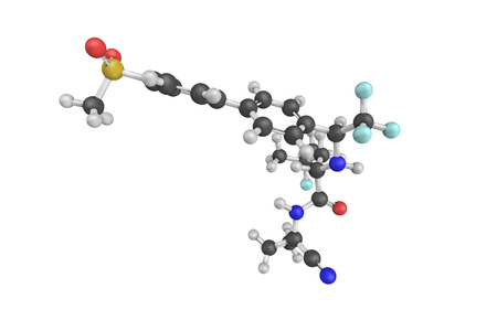 inhibitor: 3d structure of Odanacatib, an investigational treatment for osteoporosis and bone metastasis. It is an inhibitor of cathepsin K, an enzyme involved in bone resorption.