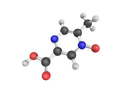 derivative: 3d structure of Acipimox, a niacin derivative used as a lipid-lowering agent. It reduces triglyceride levels and increases HDL cholesterol.