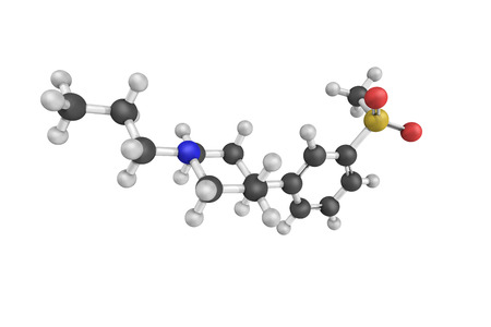 sistema nervioso central: estructura 3D de Pridopidin es un candidato a fármaco experimental que pertenece a una clase de agentes conocidos como dopidines, que actúan como estabilizantes dopaminérgicos en el sistema nervioso central.