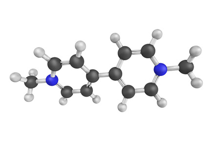 organic compound: 3d structure of Paraquat, an organic compound classified as a viologen, a family of redox-active heterocycles of similar structure. Stock Photo