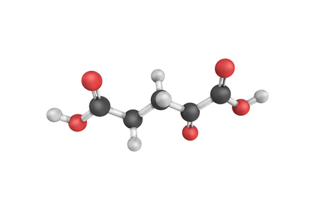 3d structure of Alpha-Ketoglutaric acid, one of two ketone derivatives of glutaric acid. Stock Photo