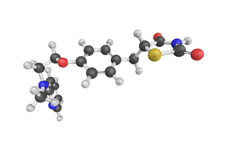 metformin: 3d structure of Rosiglitazone, an antidiabetic drug in the thiazolidinedione class of drugs. It works as an insulin sensitizer, making the cells more responsive to insulin.