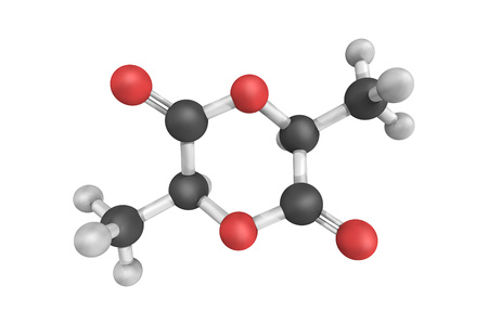 dimer: 3d structure of Lactide, the cyclic di-ester of lactic acid. Lactic acid cannot form a lactone as other hydroxy acids do because the hydroxy group is too close to the carboxylic group.