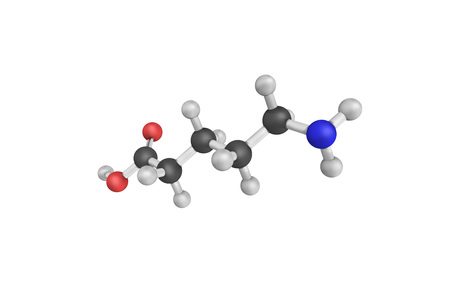 hydrochloride: 3d structure of Homopiperidinic acid, also known as 5-Aminovaleric acid. Stock Photo