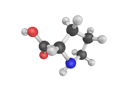 proline: 3d structure of Proline, an alfa-amino acid that is used in the biosynthesis of proteins. Non-essential in humans. Stock Photo