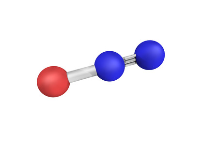 3d structure of Nitrous oxide, commonly known as laughing gas or nitrous?is. It is an oxide of nitrogen. Stok Fotoğraf