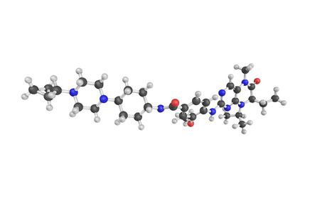 developed: 3d structure of Volasertib, a small molecule inhibitor of the PLK1 (polo-like kinase 1) protein being developed for use as an anti-cancer agent. Stock Photo
