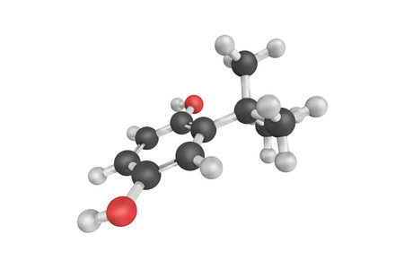 derivative: 3d structure of tert-Butylhydroquinone (TBHQ), an aromatic organic compound which is a type of phenol. It is a derivative of hydroquinone, substituted with a tert-butyl group.