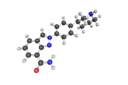 cytotoxic: 3d structure of Niraparib (originally MK-4827) is an orally active small molecule PARP inhibitor being developed in order to treat ovarian cancer.