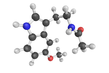 oxidative: 3d structure of Melatonin, a hormone produced by the pineal gland in animals which regulates sleep and wakefulness. It also produced in plants where it functions as defense against oxidative stress.