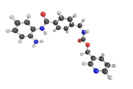 trials: 3d structure of Entinostat, also known as SNDX-275 and MS-275, a benzamide histone deacetylase inhibitor undergoing clinical trials for treatment of various cancers.