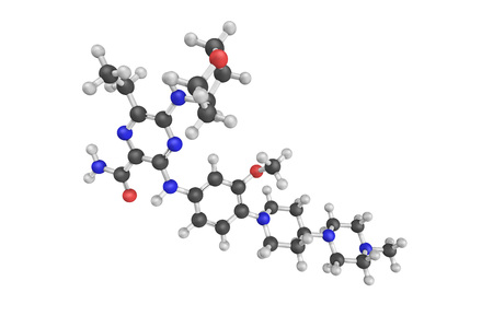 inhibitor: 3d structure of Gilteritinib, nn orally bioavailable inhibitor of the receptor tyrosine kinases (RTKs), with potential antineoplastic activity. Stock Photo
