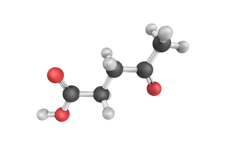 3d structure of Levulinic acid, an organic compound. It is classified as a keto acid and is derived from degradation of cellulose. It is a potential precursor to biofuels.
