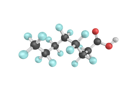 polymerization: 3d structure of Perfluorooctanoic acid, also known as C8, a synthetic perfluorinated carboxylic acid and fluorosurfactant. One industrial application is as a surfactant.