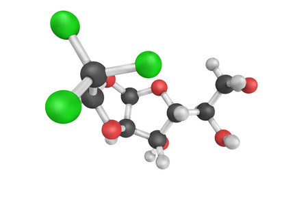 3d structure of Chloralose, an avicide and a rodenticide used to kill mice. It is also widely used in neuroscience and veterinary medicine as an anesthetic and sedative. Stock Photo