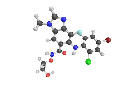 3d structure of Selumetinib (AZD6244), a drug being investigated for the treatment of various types of cancer, such as non-small cell lung cancer (NSCLC). Stock Photo