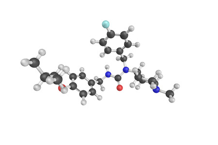 psychosis: 3d structure of Pimavanserin, or pimavanserin tartate, is a non-dopaminergic atypical antipsychotic developed for the treatment of Parkinsons disease psychosis and schizophrenia.