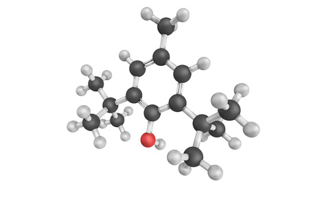 derivative: 3d structure of Butylated hydroxytoluene, also known as dibutylhydroxytoluene,  a lipophilic organic compound, chemically a derivative of phenol, useful for its antioxidant properties.