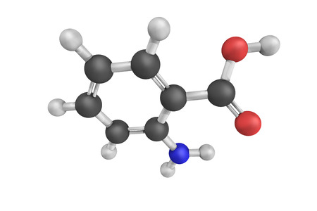 amine: 3d structure of Anthranilic acid, an aromatic acid the molecule of which consists of a substituted benzene ring, with two adjacent groups, a carboxylic acid and an amine. Stock Photo