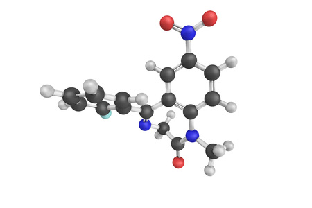benzodiazepine: 3d structure of Flunitrazepam, also known as Rohypnol, an intermediate acting benzodiazepine used in some countries to treat severe insomnia and in fewer, early in anesthesia. Stock Photo