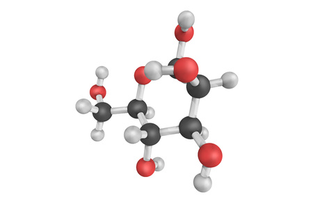 3d structure of Mannose, a sugar monomer of the aldohexose series of carbohydrates. Important in human metabolism, especially in the glycosylation of certain proteins.