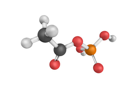 3d structure of Acetylphosphate, an enzyme that catalyzes the chemical reaction. Stock Photo