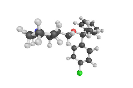 anticholinergic: 3d structure of Clemastine, also known as meclastin, an antihistamine and anticholinergic. It is also classified as an antipruritic.