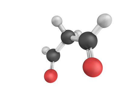 organic compound: 3d structure of Malondialdehyde, the organic compound with the formula CH2(CHO)2. This reactive species occurs naturally and is a marker for oxidative stress. Stock Photo