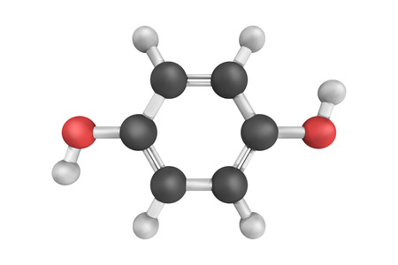 3d structure of Hydroquinone, also known as quinol, an aromatic organic compound that is a type of phenol, a derivative of benzene. It is a white granular solid.