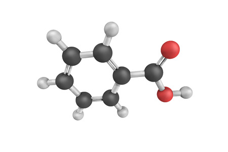 benzoic: 3d structure of Benzoic acid, a colorless crystalline solid and a simple aromatic carboxylic acid. Benzoic acid occurs naturally in many plants.