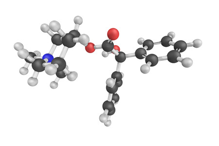 acetylcholine: Mepenzolate, an antimuscarinic, a type of anticholinergic agent that blocks the activity of the muscarinic acetylcholine receptor. Stock Photo