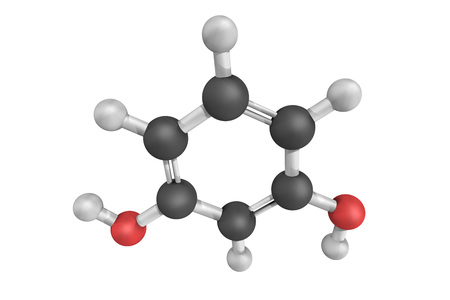 Resorcinol, the 1,3-isomer of benzenediol. 3d model. Stock Photo