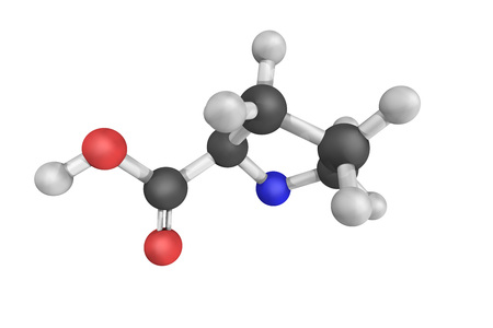 proline: Proline, an alfa-amino acid that is used in the biosynthesis of proteins.  It is non-essential in humans. Stock Photo