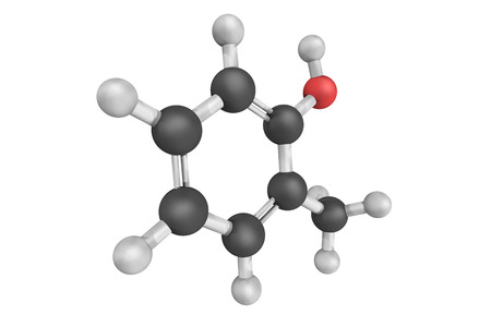 Ortho-Cresol, also known as 2-methylphenol,  a colourless solid that is widely used intermediate in the production of other chemicals. It is a derivative of phenol, an isomer of p-cresol and m-cresol. Stock Photo